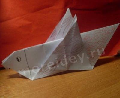 Как сделать бумажную птичку голубя из бумаги в технике оригами