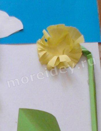 поделка одуванчик из бумаги
