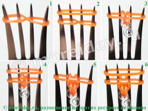 браслеты резиночками без станка на вилке