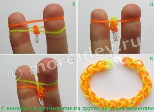 браслеты из резинок без станка на пальцах