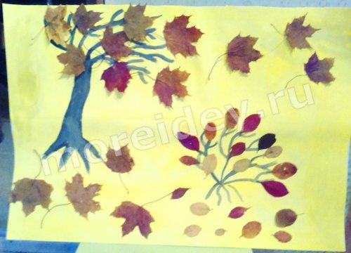 аппликация из листьев осень