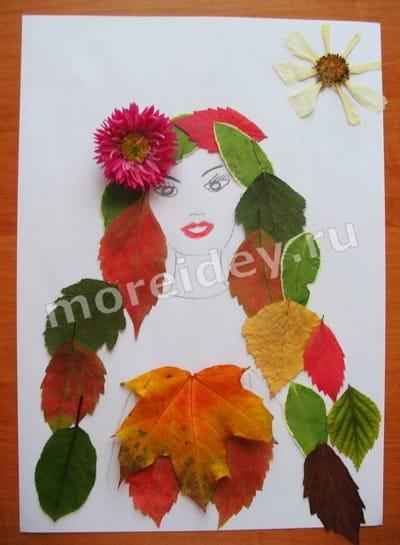 детские аппликации из листьев на тему осень