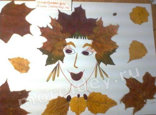 аппликация из листьев картинки