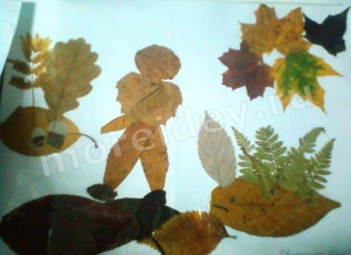 картина осень своими руками из листьев