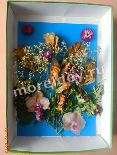 поделка картина из листьев и цветов