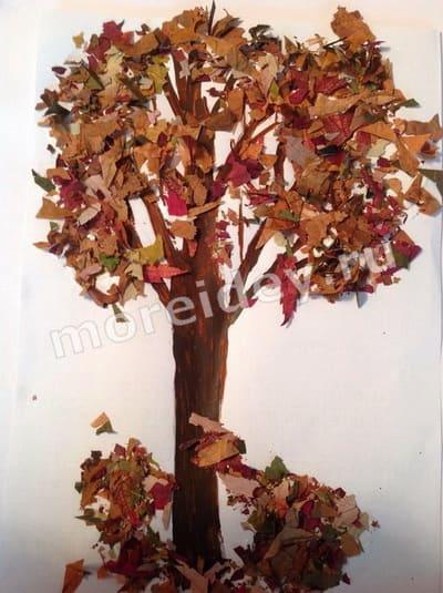 аппликации из листьев на тему осень