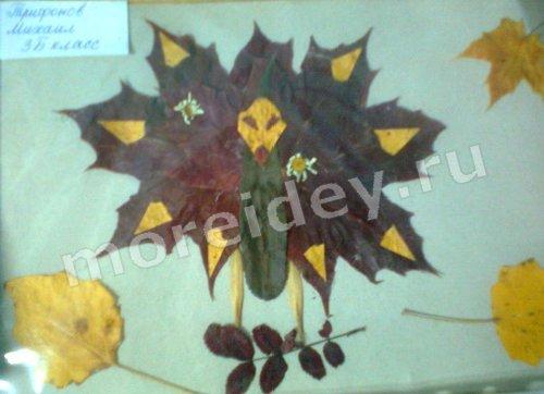 аппликация из листьев картины