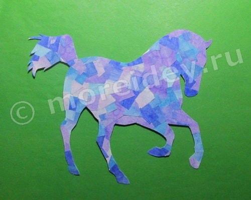 мозаика из бумаги: аппликация лошадка