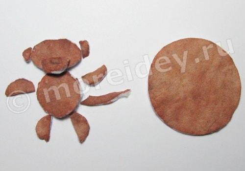 поделка обезьяна из ватных дисков