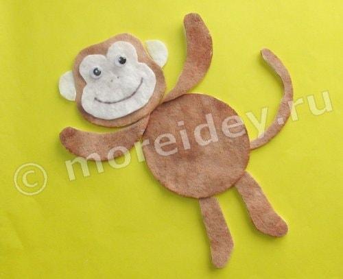 поделка обезьянки из ватных дисков