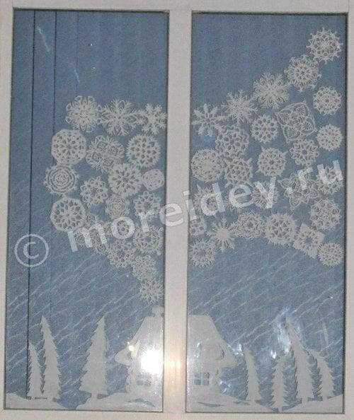 украшения на окна из бумаги своими руками