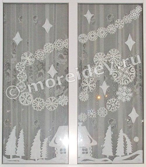 новогодние украшения на окна своими руками