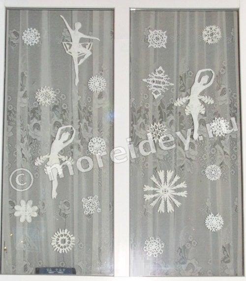 новогоднее украшение окна из бумаги своими руками