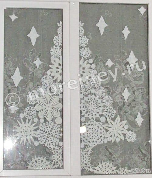 новогодние украшения на окна из бумаги