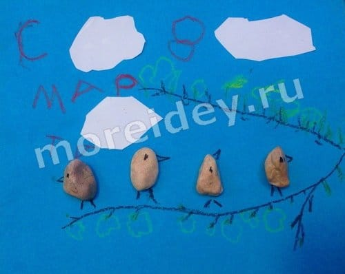 Поделки из камней: птички