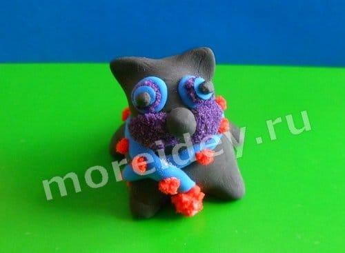 поделка котик из пластилина