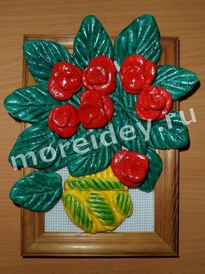 Поделки к 8 марта своими руками: панно розы из соленого теста