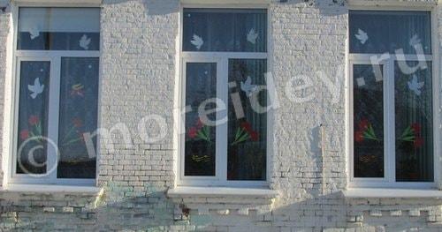 украшение окон и фасадов к 9 мая