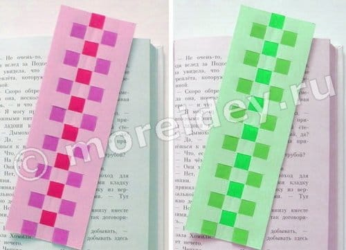 плетение полосок бумаги закладки