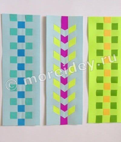 плетение закладки из полосок цветной бумаги