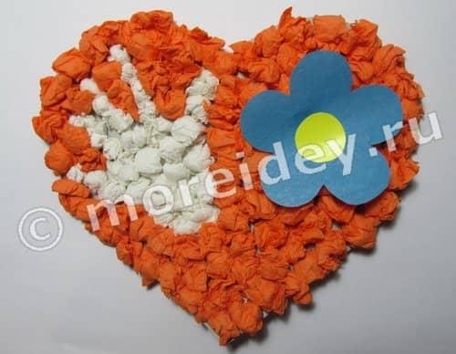 Сердце из салфеток