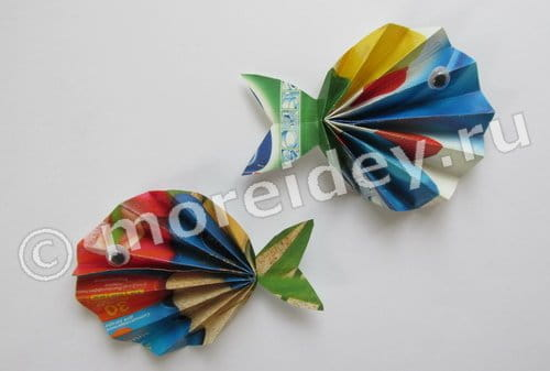 поделки из бумажной гармошки, рыбки и ракушки, мастер класс