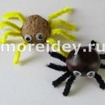 Поделка паук из природного материала