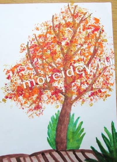 Осень - рисование мятой бумагой