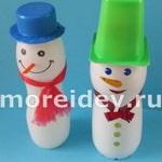 Снеговик из пластиковых бутылок, поэтапно пошагово мастер-класс