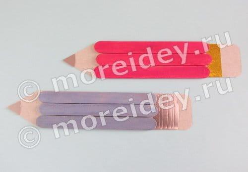 Детские поделки к 1 сентября своими руками, поделка карандаш из палочек от мороженого
